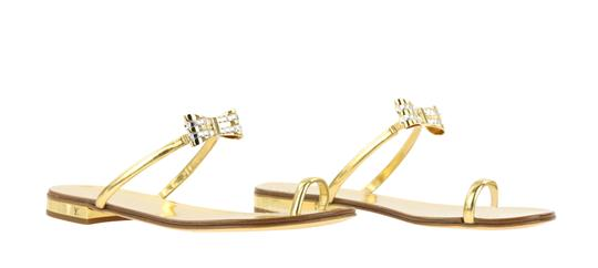Louis Vuitton Hardware Crystal Bow Lv Metallic Gold Sandals Image 1