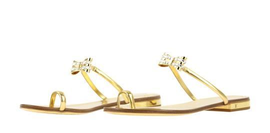 Louis Vuitton Hardware Crystal Bow Lv Metallic Gold Sandals Image 3