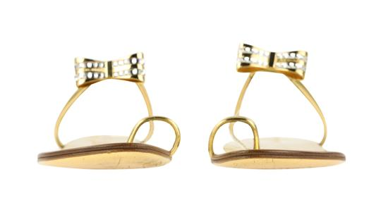 Louis Vuitton Hardware Crystal Bow Lv Metallic Gold Sandals Image 4