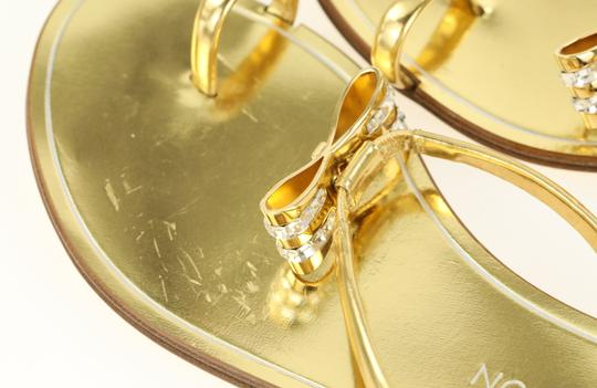 Louis Vuitton Hardware Crystal Bow Lv Metallic Gold Sandals Image 6
