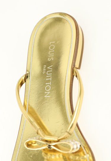 Louis Vuitton Hardware Crystal Bow Lv Metallic Gold Sandals Image 8