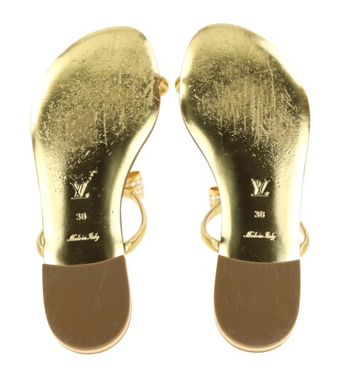 Louis Vuitton Hardware Crystal Bow Lv Metallic Gold Sandals Image 9
