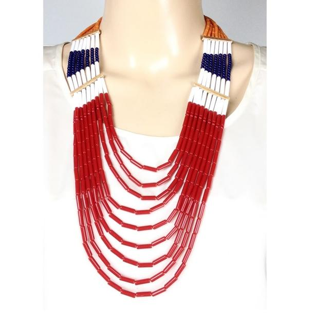Item - Red Bcbg Beaded Gold Toned Layered Tiered Necklace