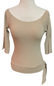 Wet Seal Striped Slit T Shirt White/nude