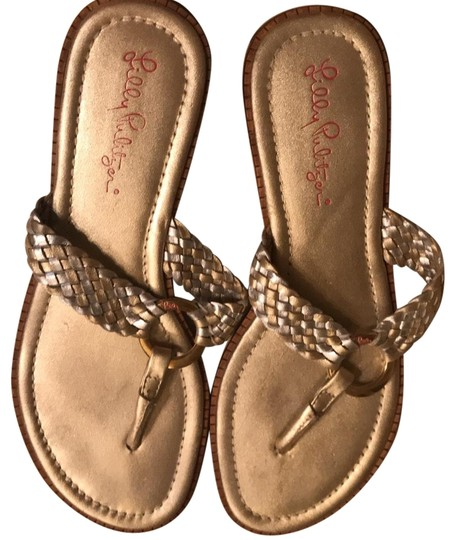 Lilly Pulitzer Gold And Silver Leather Woven Flip Flops -5416