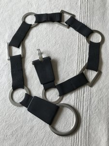 Suzi Roher Black Stretch with Leather and Nickel Silver Rings
