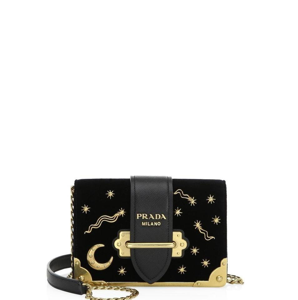 47eda3061c0f Prada Cahier New Moon and Stars Black Velvet Cross Body Bag - Tradesy