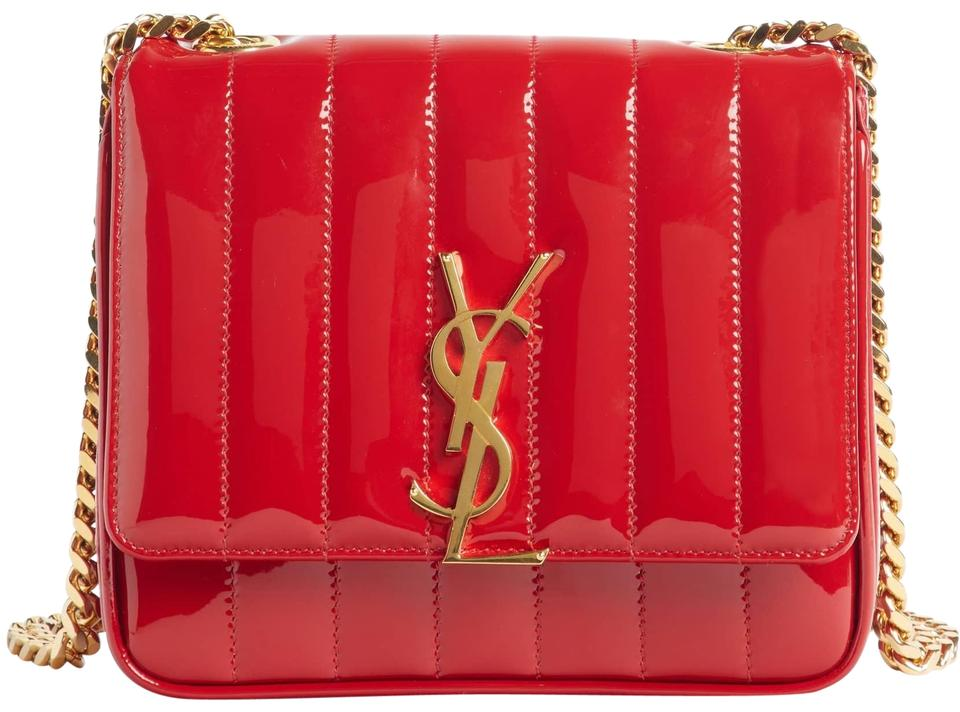 bd9c37352f Saint Laurent Monogram Loulou New Small Vicky Patent Red Leather ...