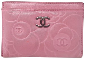 Chanel Chanel Pink Camellia leather porte cartes card case