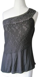 Free People New Romatics One Shoulder Lace Top Light brown