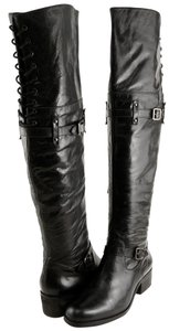 Pour La Victoire Leather Round Toe Elastic Over The Knee Black Boots