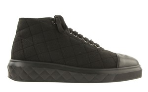 Chanel Quilted Lace Up Leather Logo Canvas Black Athletic