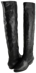 Pour La Victoire Leather Over The Knee Snake Pointed Toe Black Boots
