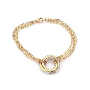 Cartier Trinity 18k Tricolor Gold Interlaced Ring Charm 4 Chain Bracelet Cert