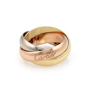 Cartier Trinity 18k Tricolor Gold 5mm Rolling Band Ring Size 57-US 8.5 Cert