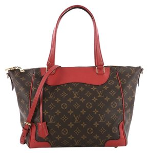 Louis Vuitton Leather Tote in brown with red