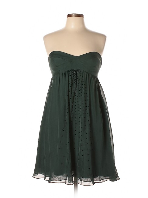 Item - Green Forest Studded Silk Strapless Short Night Out Dress Size 10 (M)