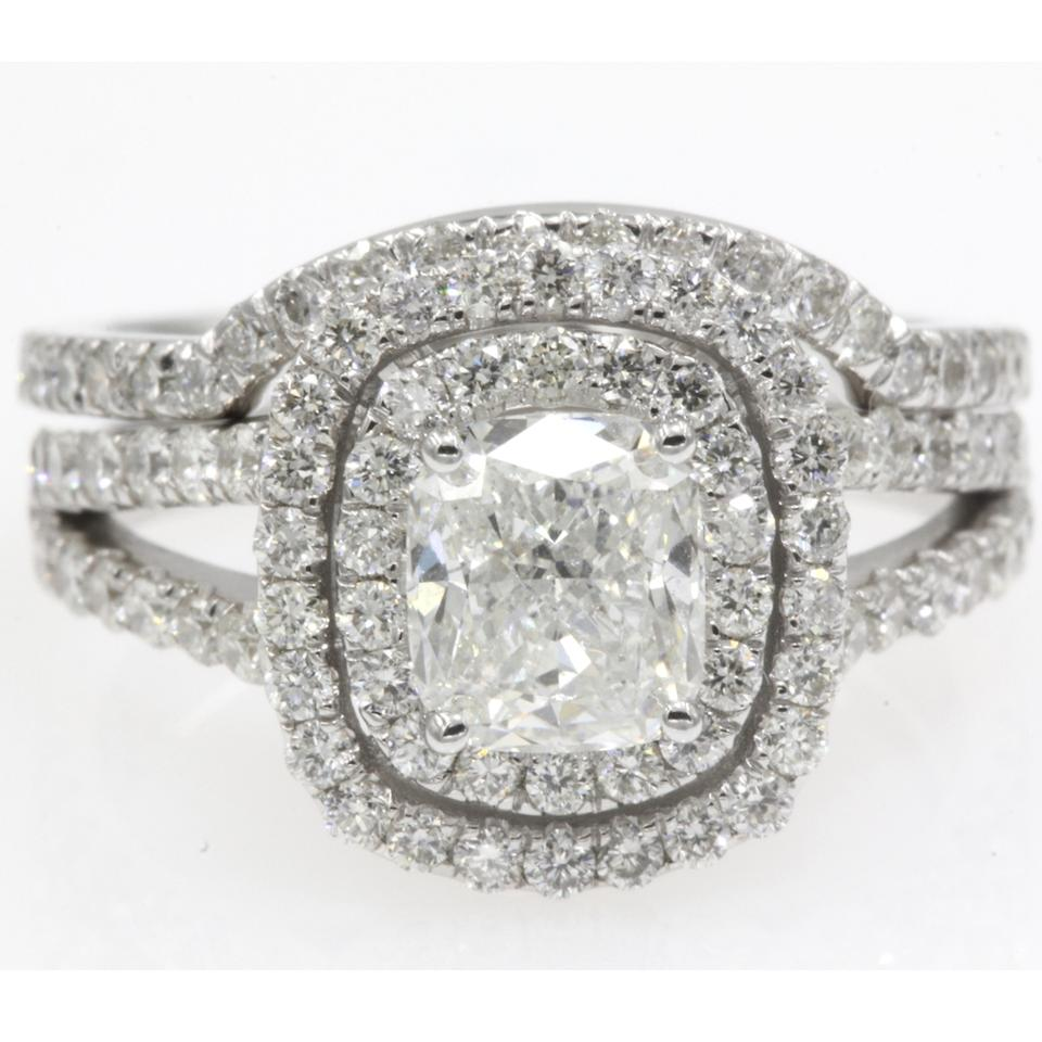 8db66aaa8da39c 14k White Gold Gia Certified 1.83 Ct Cushion Cut Double Halo Engagement Ring