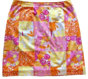 Lilly Pulitzer Patchwork Glow In Th Dark A-line Skirt Multi
