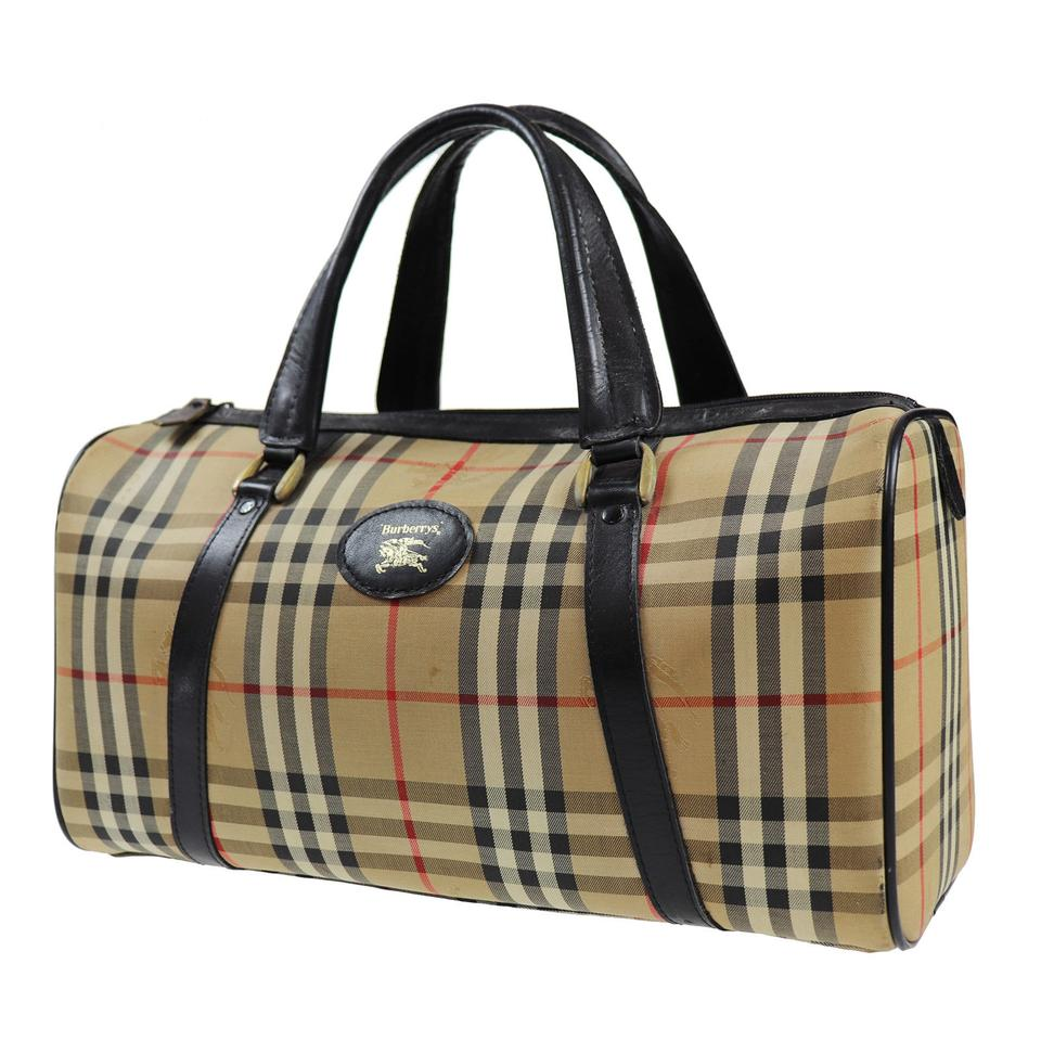 e4bbcaedbefe Burberry Nova Check Pattern Boston Hand Beige Black Canvas Weekend ...