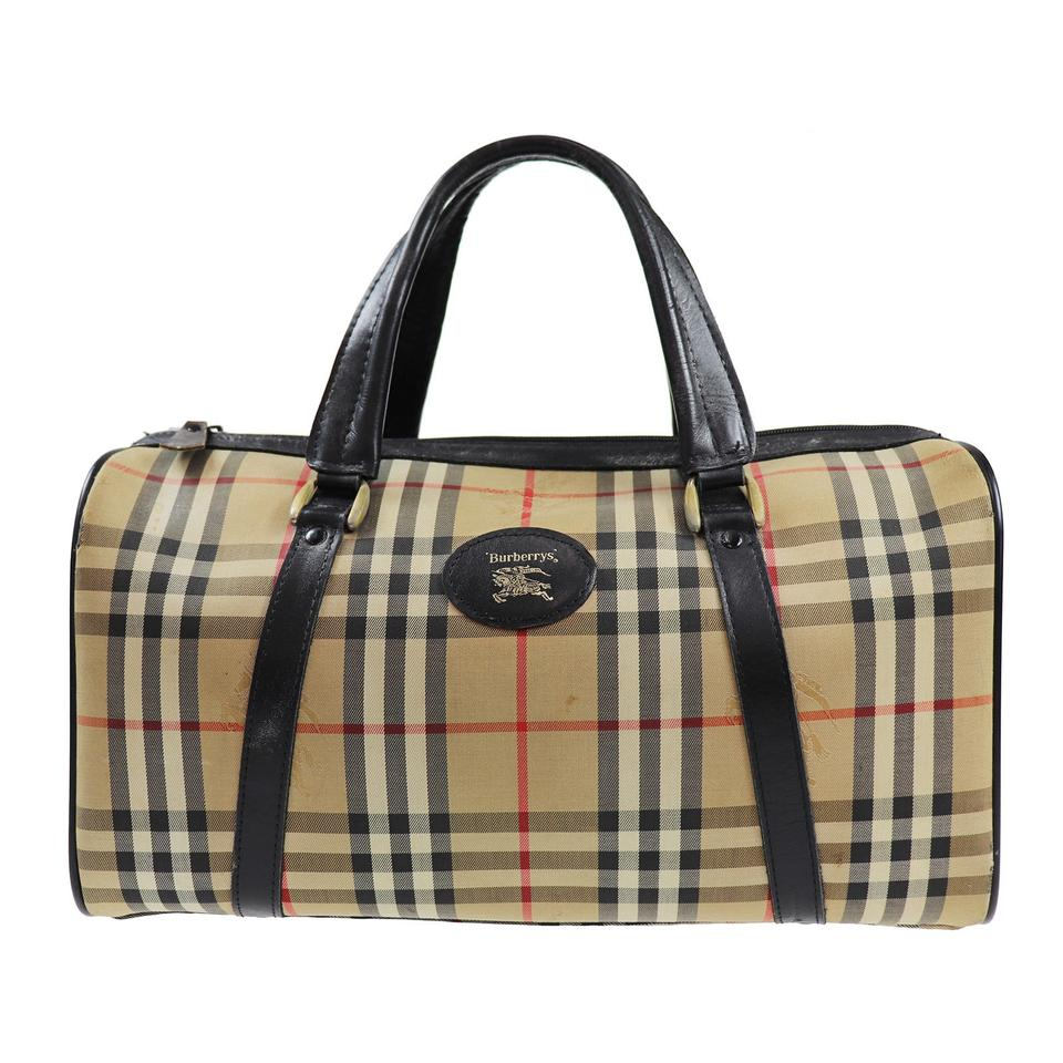 229628594974 Burberry Nova Check Pattern Boston Hand Beige Black Canvas Weekend Travel  Bag - Tradesy