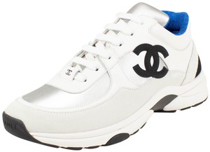 Chanel Trainer Sneaker Lace Up Suede Silver White Athletic