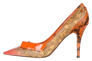 Louis Vuitton Orange Gold Hardware Leather Jokes Lv Logo Monogram Pointed Toe Stiletto Brown Pumps
