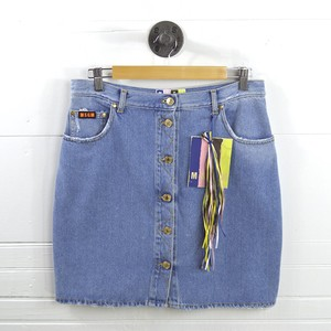 MSGM Denim Cotton Applique Fall Casual Skirt LT. WASH/ BLUE