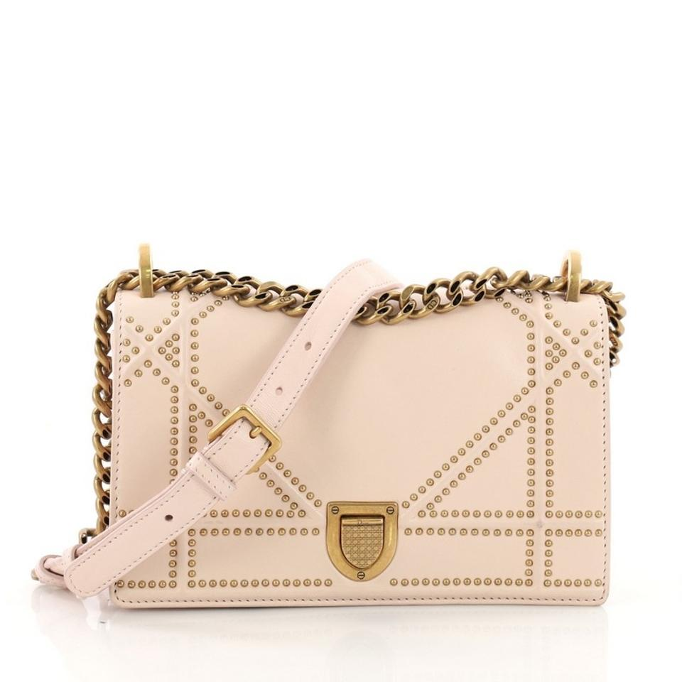 8389a2e3107f Dior Diorama Flap Studded Small Pink Leather Shoulder Bag - Tradesy