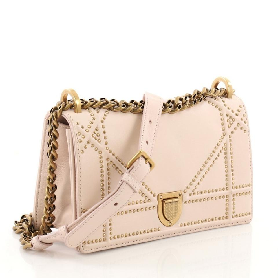 1d1d5c21cb0a Dior Diorama Flap Studded Small Pink Leather Shoulder Bag - Tradesy