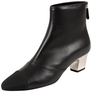 Chanel Lambskin Grosgrain Leather Zip Logo Black Boots