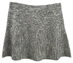 Theory Wool Fall Winter Skater Mini Mini Skirt GREY/ BLACK