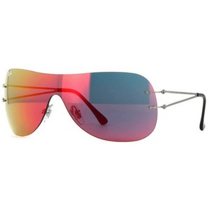 Ray-Ban Shield Style Unisex Rb8057 159/3r Red Flash Mirrored Lens Sunglasses