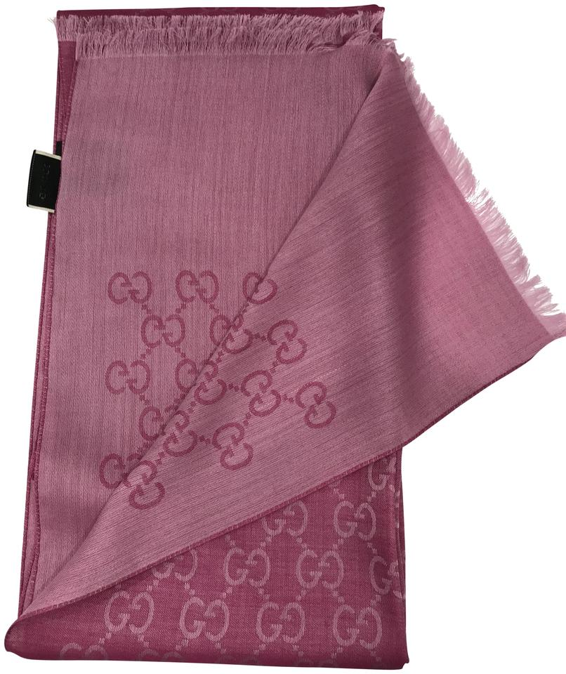 f034cf3b42 Gucci Pink New Women's Wool Silk Gg Shawl 45cm X 180cm Scarf/Wrap