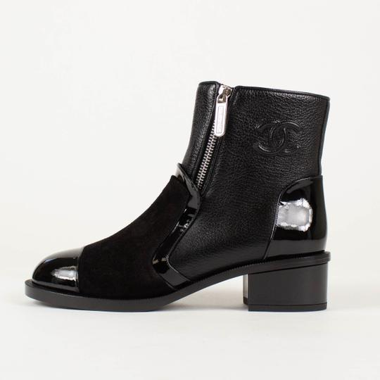 Chanel Leather Suede Patent Leather Zipper Black Boots