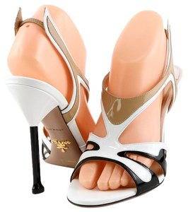 Prada Patent Open Toe Slingbacks White Tan Black Sandals