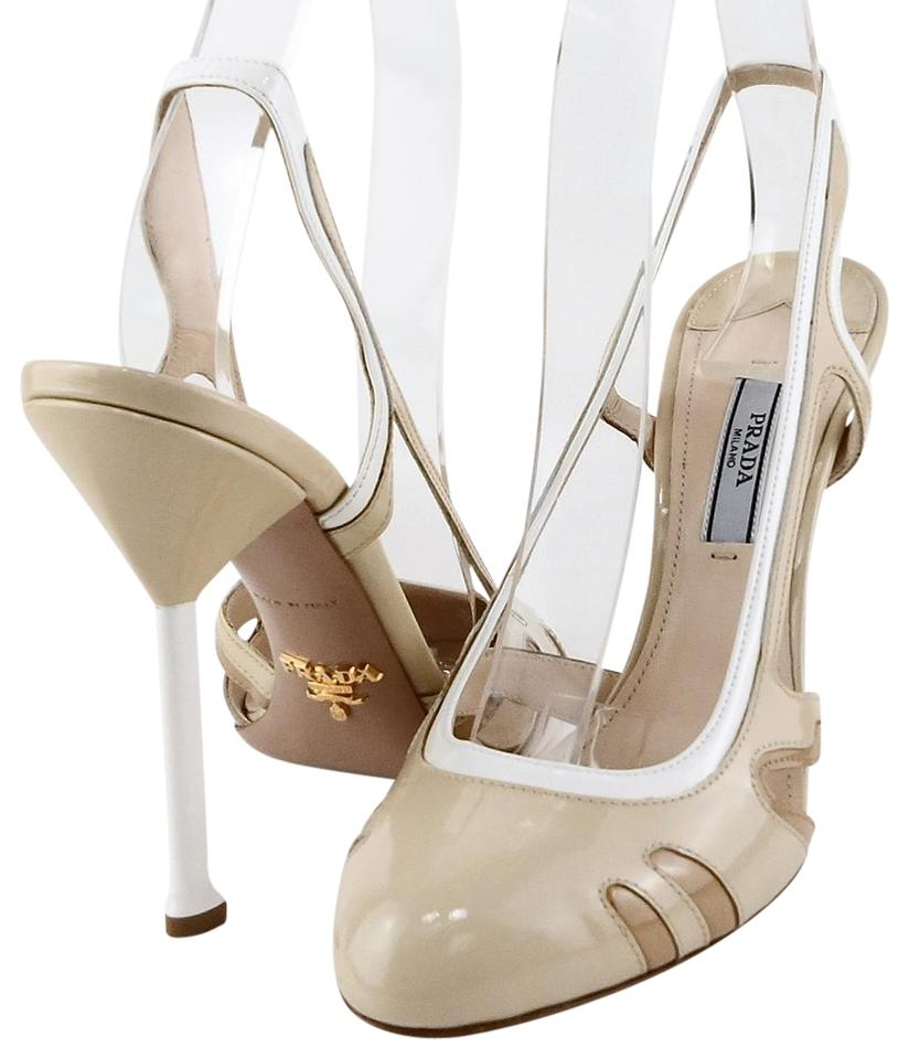 a9c57f31aba Prada White Tan 1i733d Ivory Patent Leather Heels Slingbacks Sandals ...