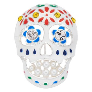 Napier Crystal and Enamel Day of the Dead Sugar Skull Brooch Pin Brooch