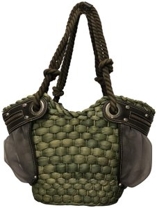 Francesco Biasia Straw Leather Tote in Green