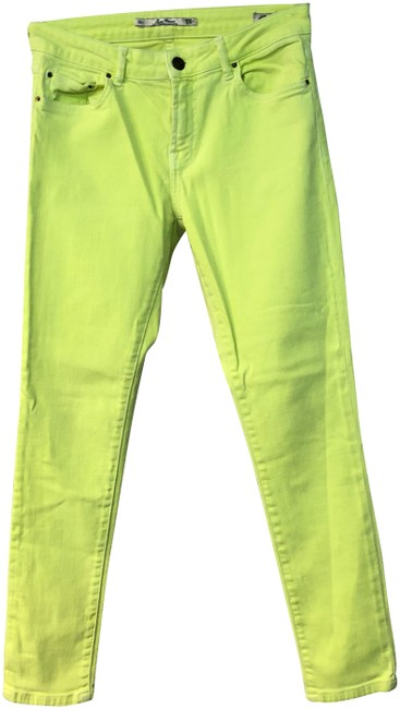 Item - Neon Yellow Woman Stretch Cotton Blend 6 Skinny Jeans Size 29 (6, M)