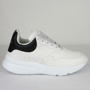 Alexander McQueen Ivory/White/Black Men's White/Black Leather Platform Sneakers It 41.5/Us 8 505033 9160 Shoes