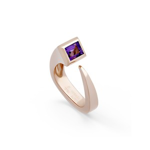 Hermès Hermes 18K Rose Gold Purple Amethyst Ring Size: 5
