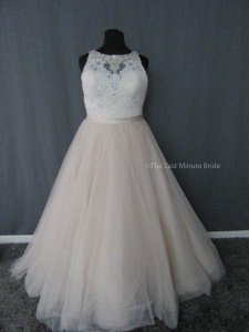 Allure Bridals Champagne/Ivory/Silver Lace 3011 Feminine Wedding Dress Size 18 (XL, Plus 0x)