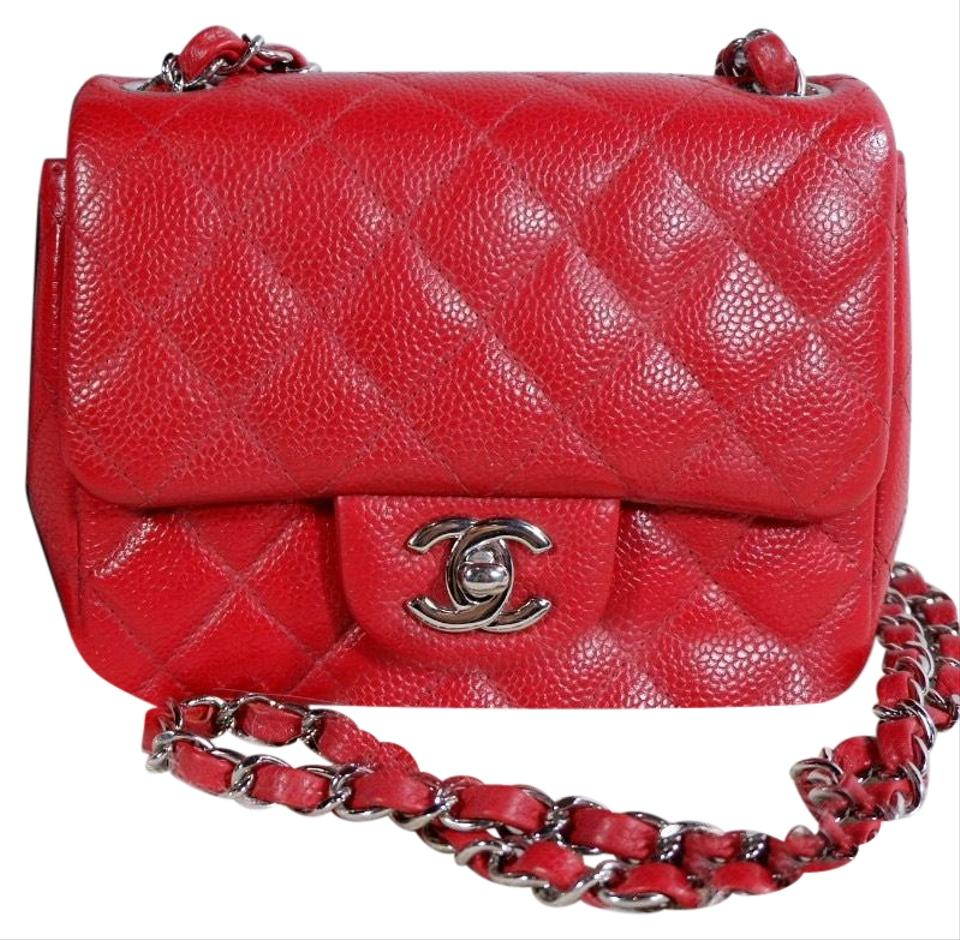 10d1998ad799e2 Chanel Classic Flap Mini Square Caviar Red Leather Cross Body Bag ...