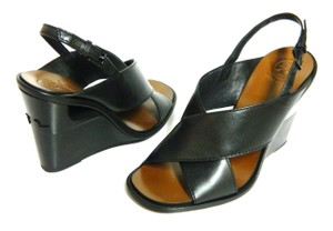 Tory Burch Leather Black Wedges