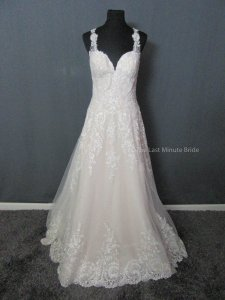 Essense of Australia Ivory/Moscato Lace D2145 Feminine Wedding Dress Size 12 (L)