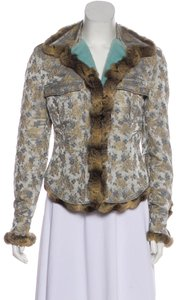 Blumarine Chinchilla Embroidered Rabbit Crystal Fur Coat