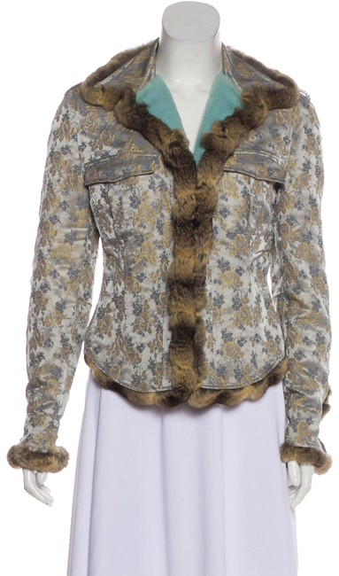 Item - Blue Grey Gold and Brown XS Chinchilla Rex Jacket It38 Coat Size 2 (XS)