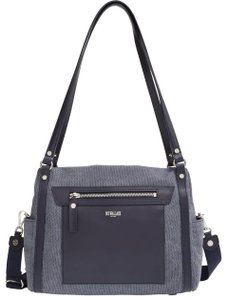 MZ Wallace Grey/Gray Cotton Canvans Top Zip Closures Satchel in Gray with blue leather trim