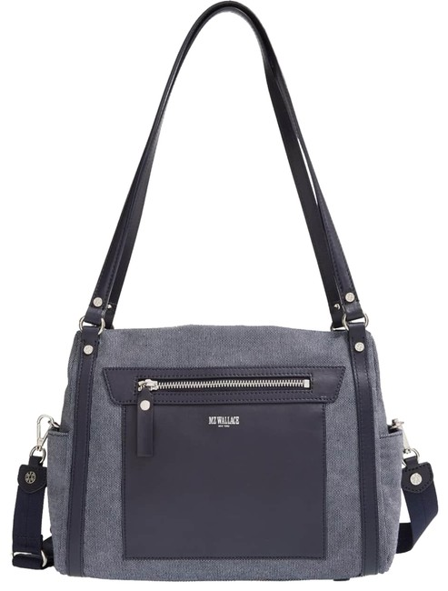 "Item - Messenger Bag ""Daisy"" Twill Satchel/ Gray with Blue Leather Trim Satchel"